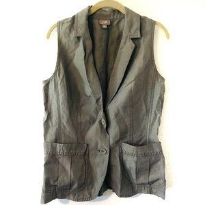 J Jill Silk Blend Casual Army Vest